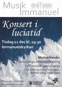 Konsert i luciatid 12/12 kl. 19:30 i Immanuelskyrkan, Jönköping