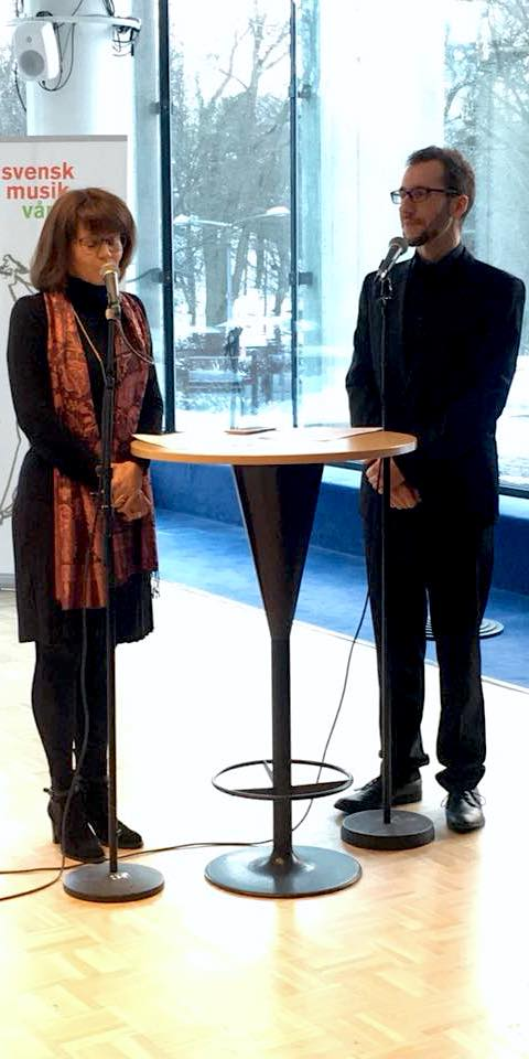 Victoria Borisova-Ollas and David Saulesco talking in Berwaldhallen, Stockholm